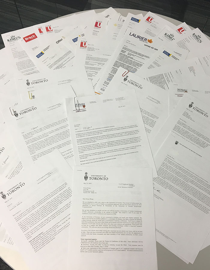 Letters from many universities